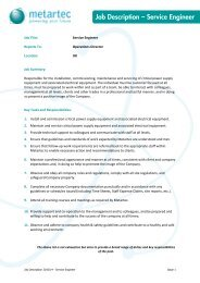 Job Description – Service Engineer - Metartec