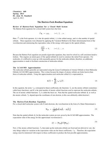 The Hartree-Fock-Roothan Equations