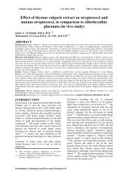 Effect of thymus vulgaris extract on streptococci and mutans ...