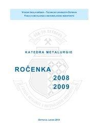 Ročenka katedry 2008 - 2009 - Vysoká škola báňská - Technická ...