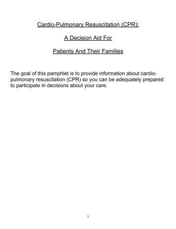 CPR Decision Aid revised to PDF brochure Nov 3 2009
