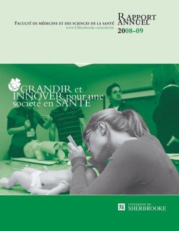 Rapport annuel GRANDIR et INNOVER pour une société en SANTÉ