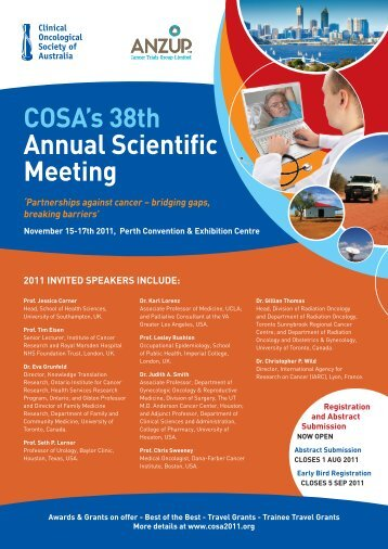 COSA's 38th Annual Scientific Meeting - Cancer Forum