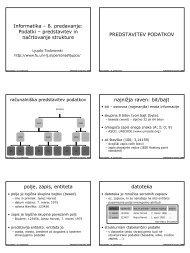 Informatika – 8. predavanje: Podatki – predstavitev in ... - Student Info