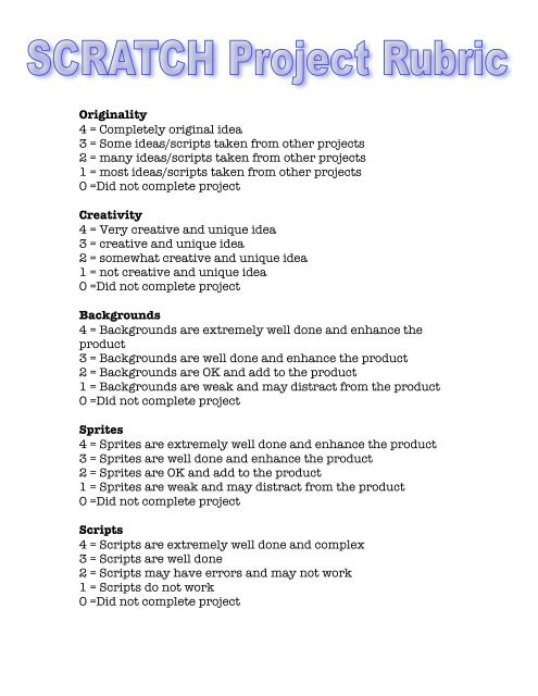 Scratch Rubric pdf - ScratchEd