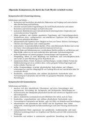 Allgemeine Kompetenzen, die durch das Fach Physik vermittelt ...