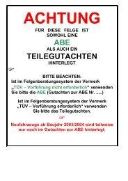 ABE TEILEGUTACHTEN - Teile-billiger.de