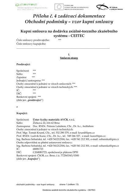 vzor kupní smlouvy - Ústav fyziky materiálů AV ČR