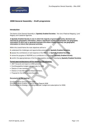 2008 General Assembly – Draft programme ... - EuroGeographics