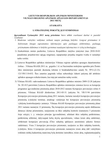 VRAAD 2011 metų veiklos ataskaita - Vilniaus regiono aplinkos ...
