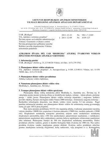"""2011-12-22 Atrankos išvada dėl UAB """"Biodegra"""" - Vilniaus regiono ..."""