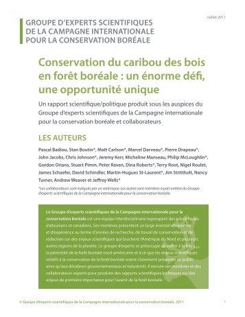 Conservation du caribou des bois en forêt boréale - Initiative ...