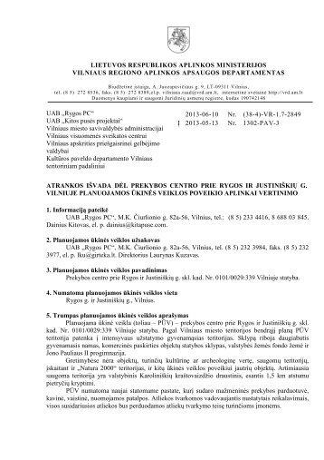 2013-06-10 Atrankos išvada dėl prekybos centro prie Rygos ir ...