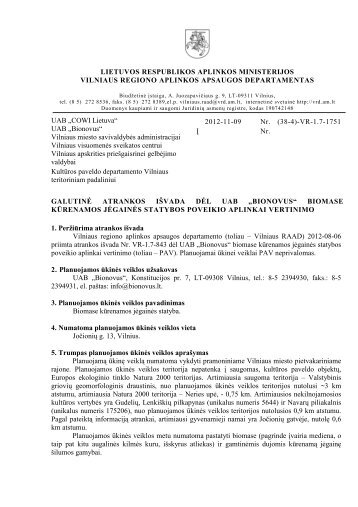 """2012-11-09 Galutinė atrankos išvada dėl UAB """"Bionovus"""" - Vilniaus ..."""