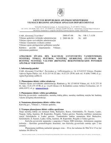 2009-07-08 Atrankos išvada dėl Kalvelių gyvenvietės vandentiekio ...