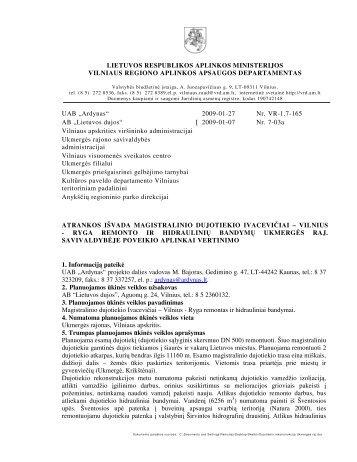 Vilnius - Ryga remonto ir hidraulinių bandymų Ukmergės r - Vilniaus ...