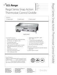 RGTSA Series Gas Griddles, Models RGTSA-2424-1, RGTSA-2436 ...