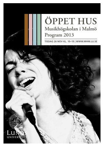 Programbok 2013 - Musikhögskolan i Malmö - Lunds universitet