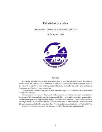 Estatutos sociales - Asociación Larense de Astronomía, ALDA