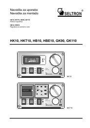 Regulacija Seltron HK10 in HKT10 - navodila za uporabo - Ika