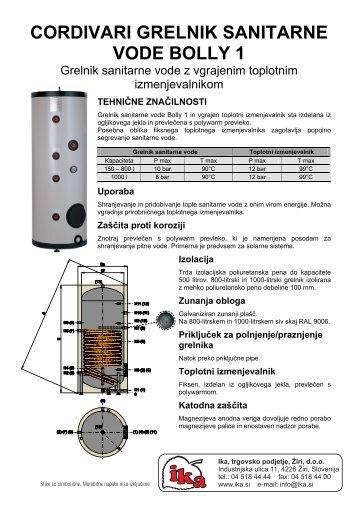Grelnik tople vode Cordivari Bolly 1 - Ika