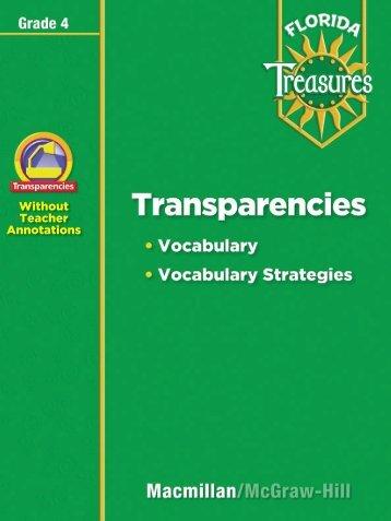 Transparency - Treasures - Macmillan/McGraw-Hill