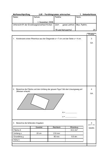 Großartig Parallelogramme Arbeitsblatt Ideen - Arbeitsblätter für ...