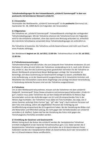 Teilnahmebedingungen für den Fotowettbewerb ... - studiVZ