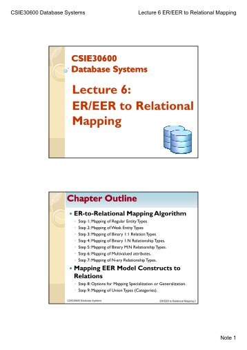 Lecture 6: ER/EER to Relational Mapping
