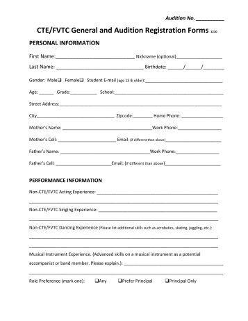 all star audition registration form area 10. Black Bedroom Furniture Sets. Home Design Ideas