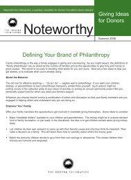 Defining Your Brand of Philanthropy.qxd - The Denver Foundation