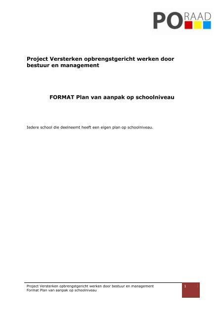 format plan van aanpak FORMAT Plan van aanpak op schoolniveau.pdf   Avs