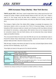 ANA Increases Tokyo (Narita) - New York Service - Japan