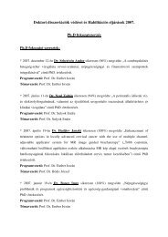 2007. év - PTE Egészségtudományi Kar - Doktori Iskola