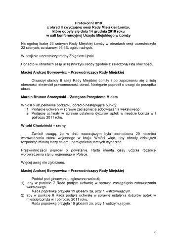 Protokół nr II/10 - Łomża