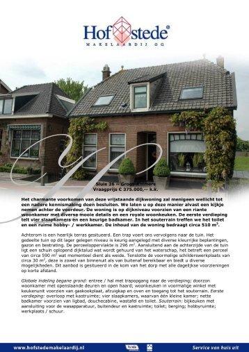 Sluis 26 ~ Groot-Ammers - Hofstede Makelaardij