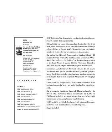 bülten 73 (pdf) - Bilim ve Sanat Vakfı