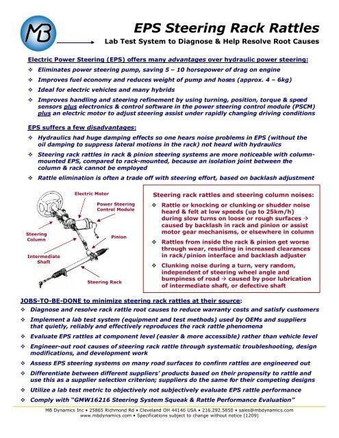 EPS Steering Rack Rattles - MB Dynamics GmbH,Vibration Test