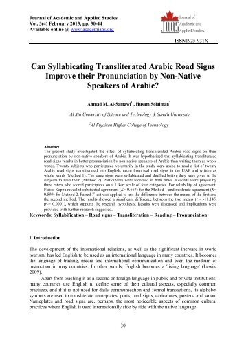 Can Syllabicating Transliterated Arabic Road Signs Improve their ...