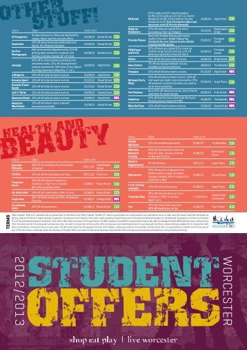 to download Revised Student Offers Leaflet 2012.pdf - Worcester