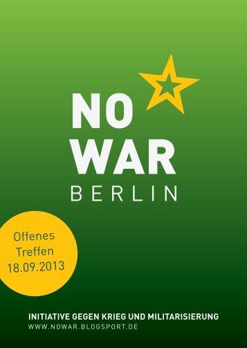 Flyer fürs offene Treffen als PDF - NoWar Berlin - blogsport.de