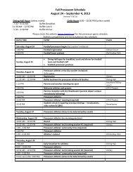 2013 Preseason Orientation Schedule