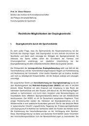 Rechtliche Möglichkeiten der Dopingkontrolle - Hamburger ...