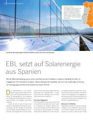 EBL setzt auf Solarenergie aus Spanien - Steiner, Urs