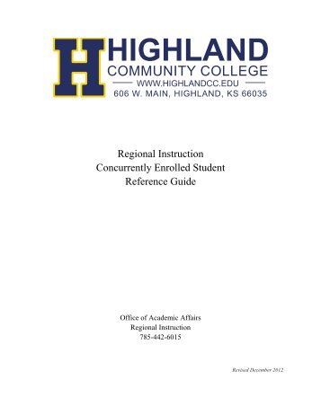 Regional Instruction Concurrently Enrolled Student Reference Guide