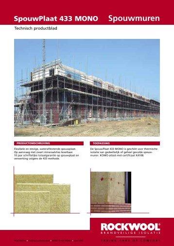 Rockwool Spouwplaat 433 Mono specificatieblad - Bouwmaterialen