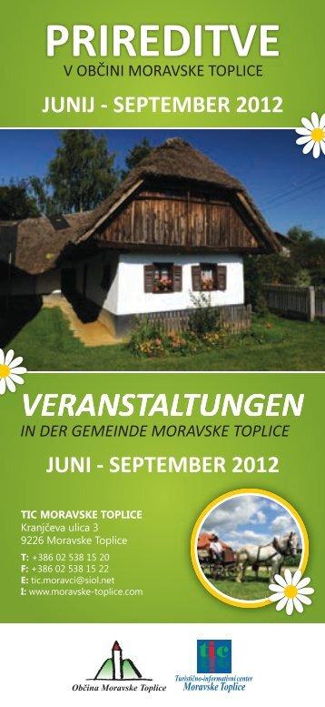 KNJIŽICA - PRIREDITVE (junij-september) - TIC Moravske Toplice
