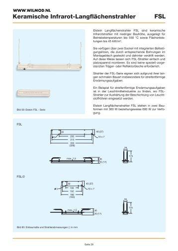 Keramische Infrarot-Langflächenstrahler FSL - Wilmod