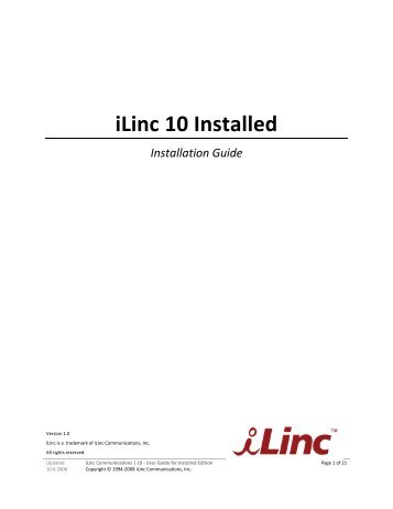 Installation Guide for iLinc 10 Installed Edition