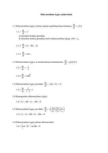 Diferencialinės lygtys (uždaviniai) 1.1 Diferencialinės lygtys į kurias ...